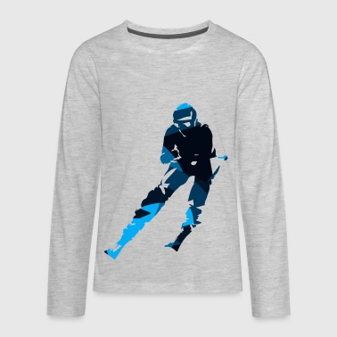 Silhouettes man skiing sport vector cartoon image - Kids' Premium Long Sleeve T-Shirt