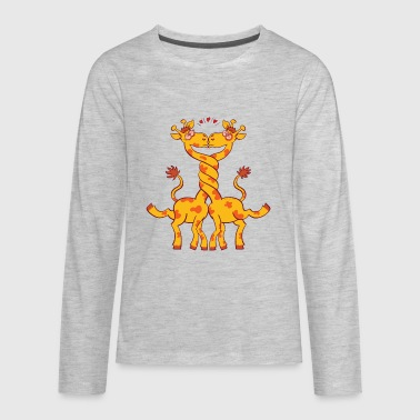 Giraffes in love intertwining necks and kissing - Kids' Premium Long Sleeve T-Shirt