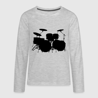 drum silhouette - Kids' Premium Long Sleeve T-Shirt