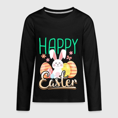Happy Easter with rabbit bunny eggs gift - Kids' Premium Long Sleeve T-Shirt