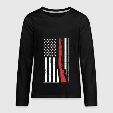American Flag & Shotgun | Skeet Shooting - Kids' Premium Long Sleeve T-Shirt