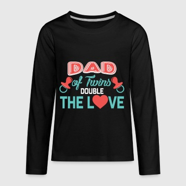 Double Twins Dad of twins, Double The Love, Father of Twins Gift - Kids' Premium Long Sleeve T-Shirt
