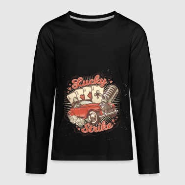Vintage poster card retro car old microphone image - Kids' Premium Long Sleeve T-Shirt