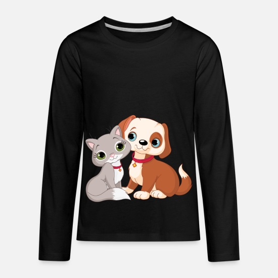 Beautiful T-Shirts - cat and dog 6 - Kids' Premium Longsleeve Shirt black