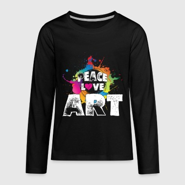Peace Love Art Shirt - Kids' Premium Long Sleeve T-Shirt