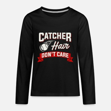 Fastpitch Catcher Funny Fastpitch Softball Hair Pitcher Catcher Bat - Kids' Premium Long Sleeve T-Shirt