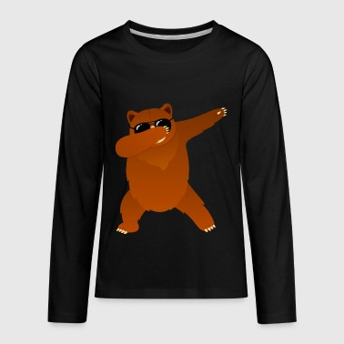 Dabbing Bear With Sunglasses - Cool Gift Design - Kids' Premium Long Sleeve T-Shirt