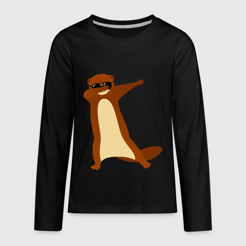 Dabbing Otter With Sunglasses - Gift Design - Kids' Premium Long Sleeve T-Shirt
