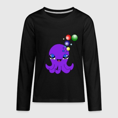 Sea Dweller Octopus Squid Multicoloured Bubbles Tentacles - Kids' Premium Long Sleeve T-Shirt