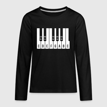 Musical Keyboard, C Major Scale (Piano Music 1C) - Kids' Premium Long Sleeve T-Shirt
