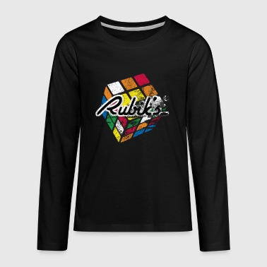 Rubiks Cube Rubik's Cube Distressed and Faded - Kids' Premium Long Sleeve T-Shirt