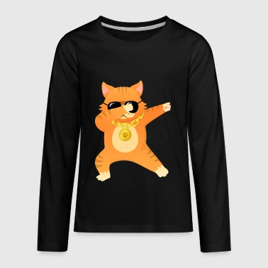 Dabbing Cool Cat With Sunglasses. Dab Dance Design - Kids' Premium Long Sleeve T-Shirt