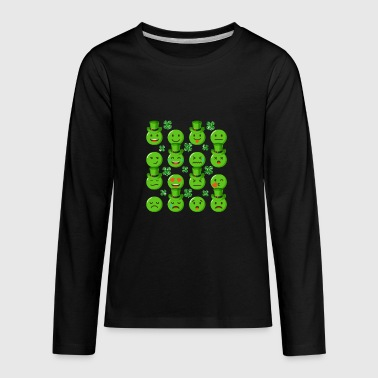 Emojis With Green Hats Shamrocks St Patricks Day - Kids' Premium Long Sleeve T-Shirt