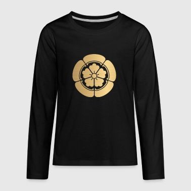 Oda Mon Japanese samurai clan faux brushed gold - Kids' Premium Long Sleeve T-Shirt