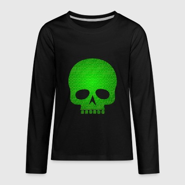 Skull binary code - Kids' Premium Long Sleeve T-Shirt