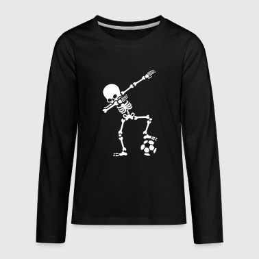 Dab dabbing skeleton football (soccer) - Kids' Premium Long Sleeve T-Shirt