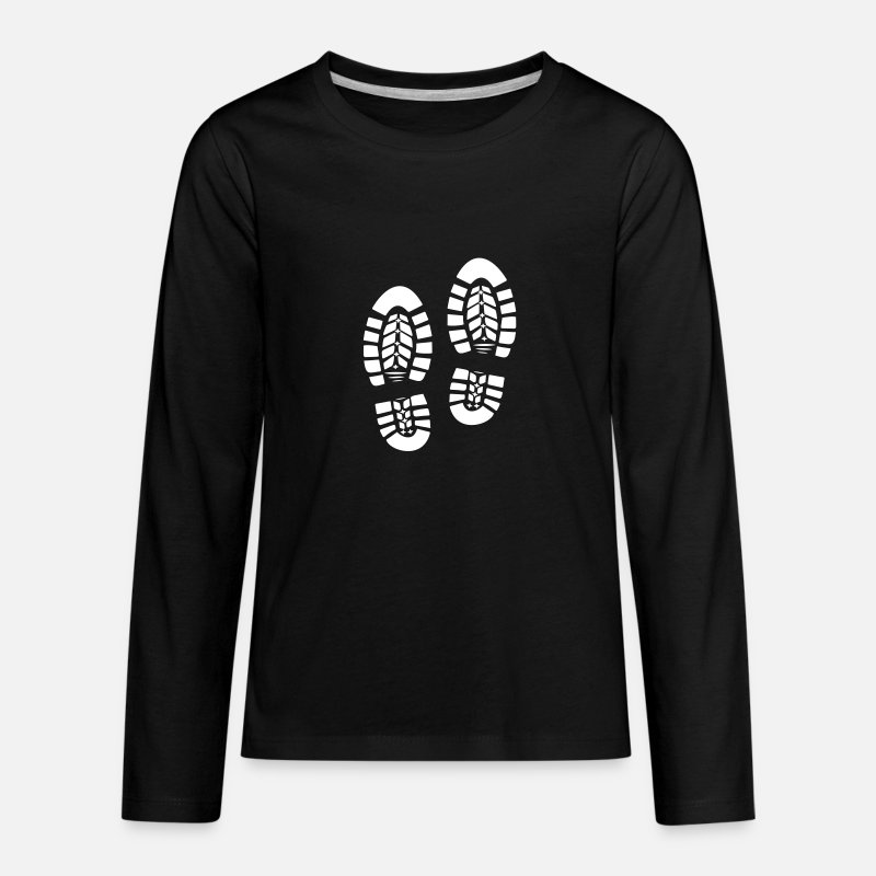 Foot Print T-Shirts - Feet Foot Shoe Shoes Print 1c - Kids' Premium Longsleeve Shirt black