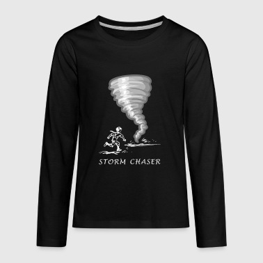 Storms Kids Funny Storm Chaser Kid Running Towards Tornado - Kids' Premium Long Sleeve T-Shirt
