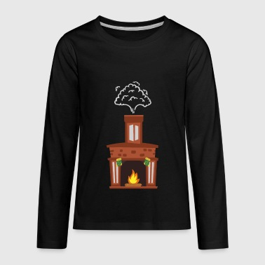 Christmas Fireplace kids ugly christmas sweater - Kids' Premium Long Sleeve T-Shirt