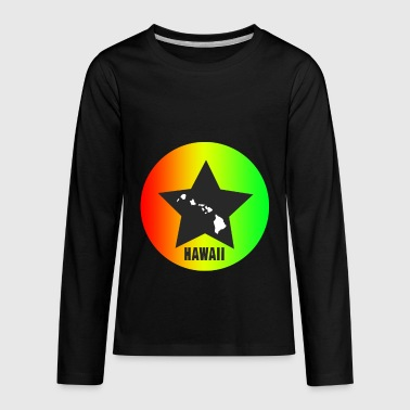 Hawaii star with map - Kids' Premium Long Sleeve T-Shirt