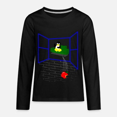 Linux Linux penguin Throws an Apple out the Window - Kids' Premium Longsleeve Shirt