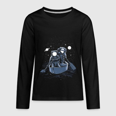 Row Boat Astronauts in Rowing Boat - Kids' Premium Long Sleeve T-Shirt