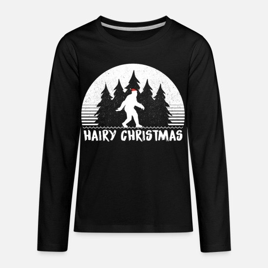 Bigfoot T-Shirts - Hairy Christmas Bigfoot - Kids' Premium Longsleeve Shirt black