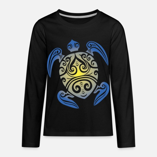 Turtle Long-Sleeve Shirts - Sea Turtle - Tribal - Kids' Premium Longsleeve Shirt black