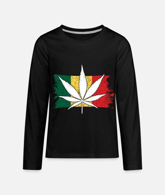 Hemp Long-Sleeved Shirts - 420 Hemp Leaf Cannabis Lover Stoners Birthday Flag - Kids' Premium Longsleeve Shirt black