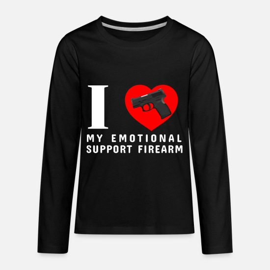 Firearm T-Shirts - I Love My Emotional Support Firearm - Kids' Premium Longsleeve Shirt black