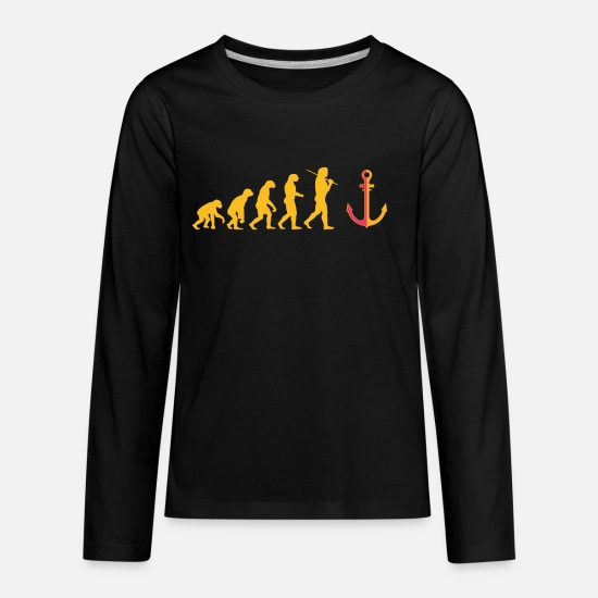 Water Long-Sleeve Shirts - Evolution Anchor Captain Captain Ship Seagel - Kids' Premium Longsleeve Shirt black