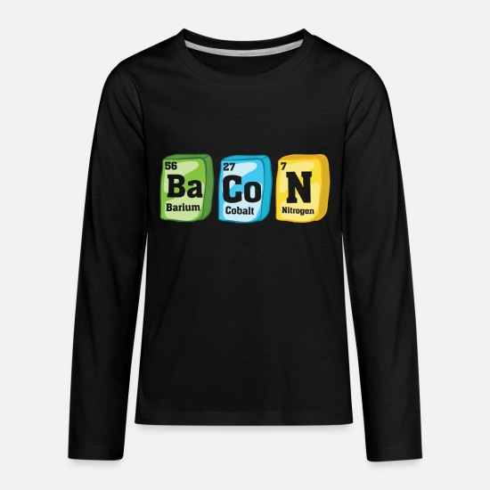 Periodic Long-Sleeve Shirts - Bacon periodic table - Kids' Premium Longsleeve Shirt black