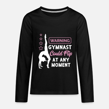 Gymnastics Funny Gymnast Gift - Warning Gymnast Could Flip - Kids' Premium Long Sleeve T-Shirt