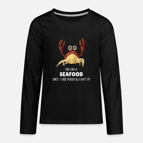 Lover Long-Sleeve Shirts - I'm On A Seafood Diet Funny Seafood Food - Kids' Premium Longsleeve Shirt black