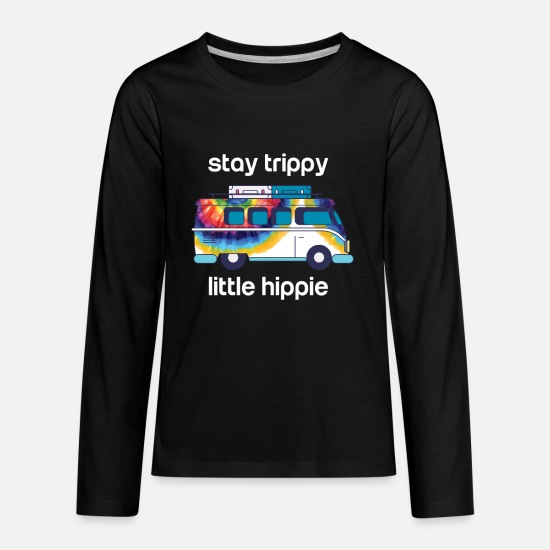 Trippy T-Shirts - Funny Hippie Gift - Stay Trippy Little Hippie - Kids' Premium Longsleeve Shirt black