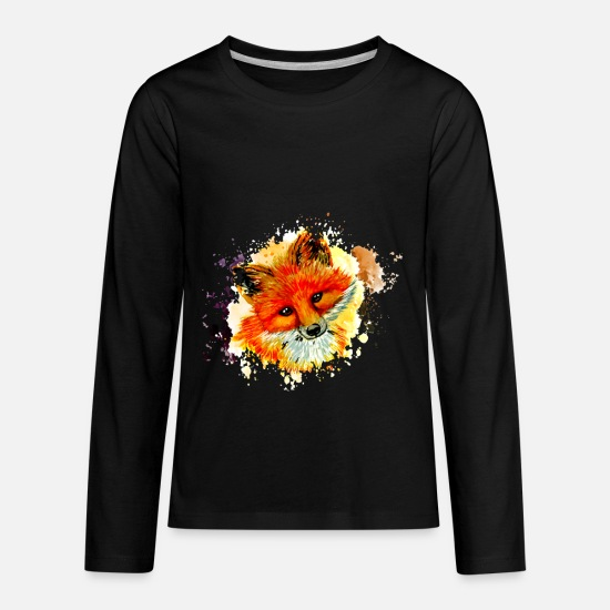 Forest T-Shirts - fox face - Kids' Premium Longsleeve Shirt black