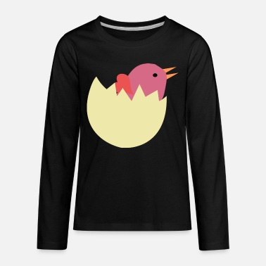 Eggshell Chicken hatchling with eggshell - Kids' Premium Longsleeve Shirt