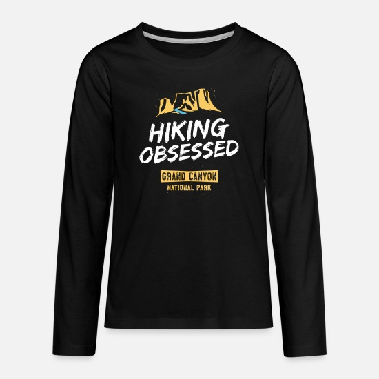 Grand T-Shirts - Hiking Obsessed Hike Grand Canyon National Park TShirt - Kids' Premium Longsleeve Shirt black