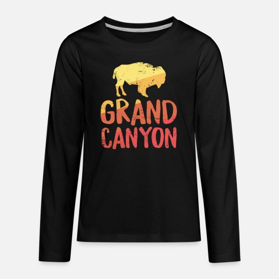 Grand Long-Sleeve Shirts - Grand Canyon TShirt Bison Buffalo Retro Arizona Vacation - Kids' Premium Longsleeve Shirt black