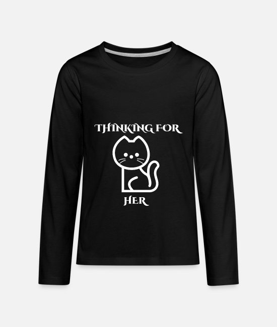 New Long-Sleeved Shirts - THINKING FOR HER - Kids' Premium Longsleeve Shirt black