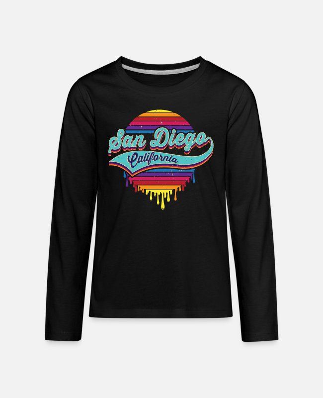 San Diego Long-Sleeved Shirts - San Diego, California Typographic Dripping Paint - Kids' Premium Longsleeve Shirt black