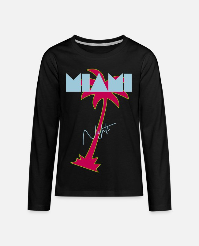 Dancehall Long-Sleeved Shirts - Miami nights, 80s Retro - Kids' Premium Longsleeve Shirt black
