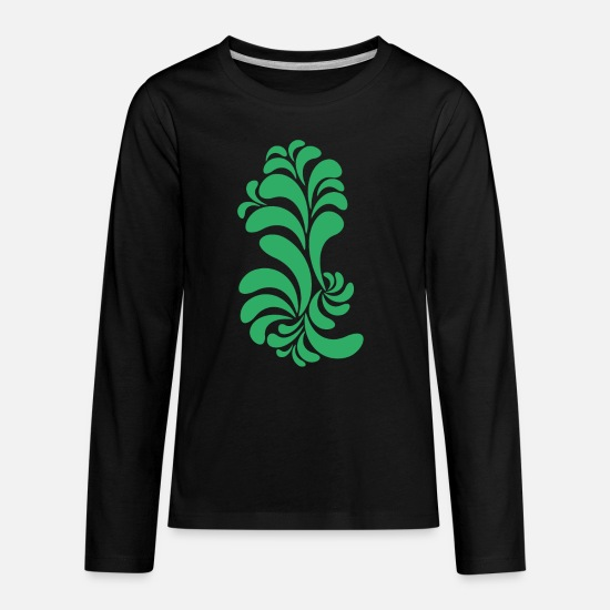 Shape T-Shirts - Forms Pattern Flower Abstract - Kids' Premium Longsleeve Shirt black