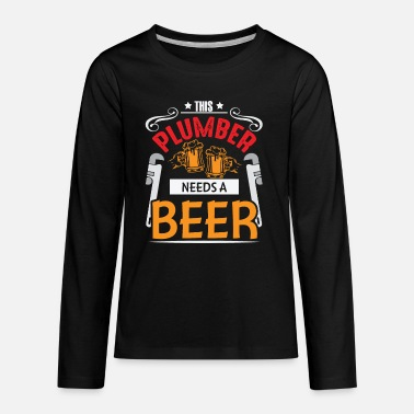 Safety Helmet Funny Plumber Joke Beer Drinker Craftsman - Kids' Premium Longsleeve Shirt