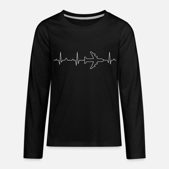 Military Long-Sleeve Shirts - Pilot Fly Heartbeat - Kids' Premium Longsleeve Shirt black