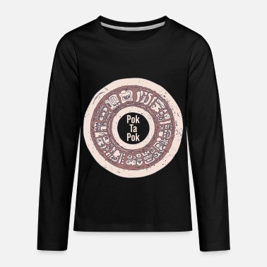 Pok Ta Pok - Stone Hoop with Text - Mayan Ball - Kids' Premium Longsleeve Shirt