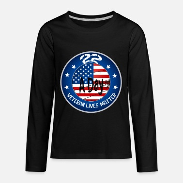 Name 22 A Day Veteran Lives Matter Military flag shirt - Kids' Premium Longsleeve Shirt