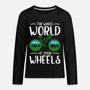 Triathlon The World at your Wheels Funny Bicycle T-Shirt - Kids' Premium Longsleeve Shirt