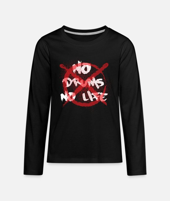 Guitar Long-Sleeved Shirts - No Drums No Life - Drummer Drumsticks - Kids' Premium Longsleeve Shirt black