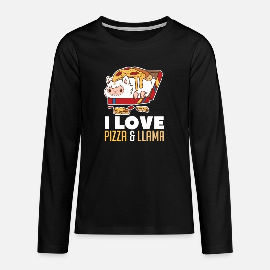 Donkey T-Shirts - Llama Pizza Pie Cheese Fast Food Lover Funny - Kids' Premium Longsleeve Shirt black